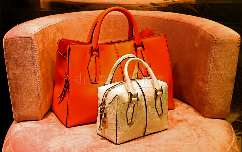 Ladies genuine leather handbags stock photo