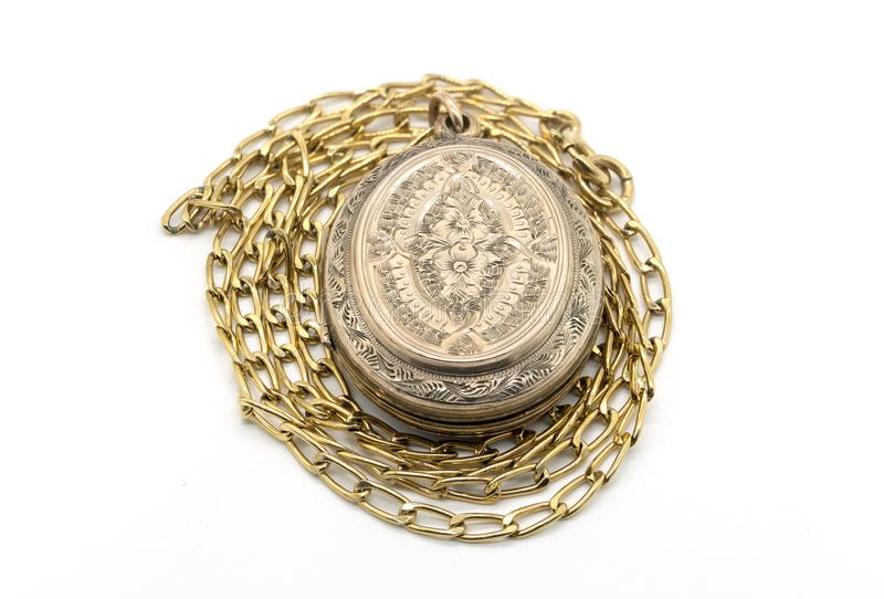 Ladies gold Pendant on Chain stock images