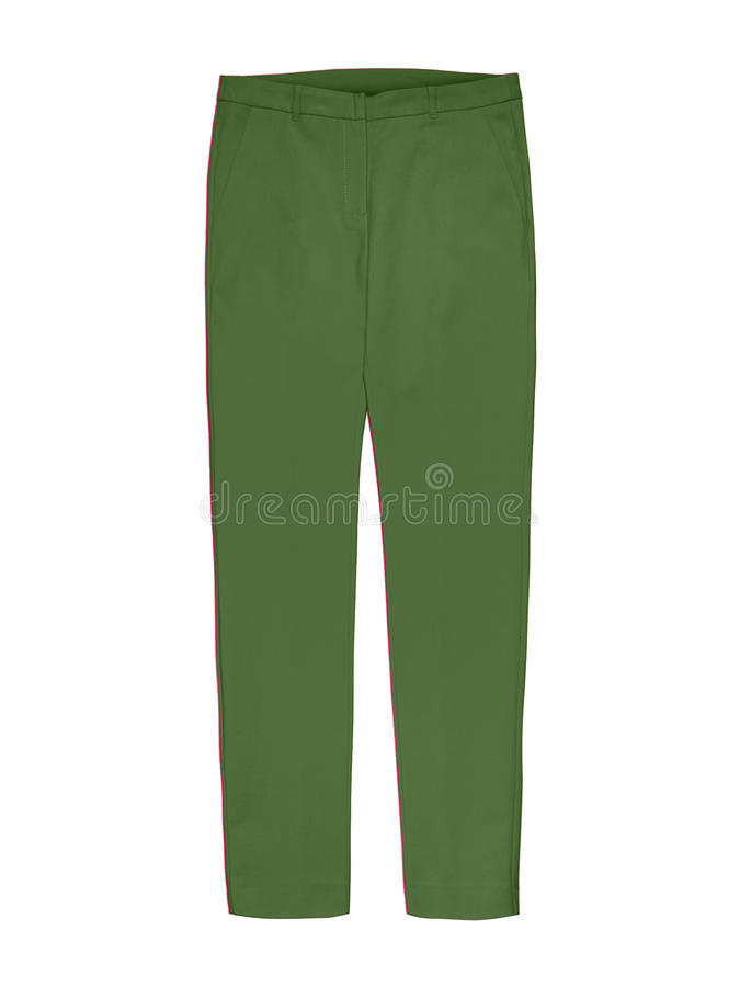 Ladies green trousers isolated on white. Background royalty free stock images