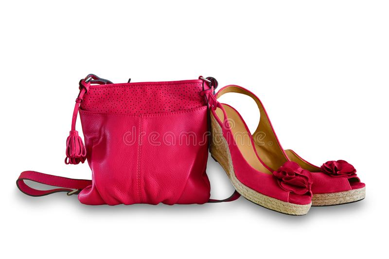 Ladies handbag and sandals. Women`s summer leather bag and shoes royalty free stock photos