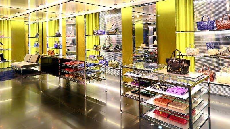 Ladies handbags retail shop royalty free stock images