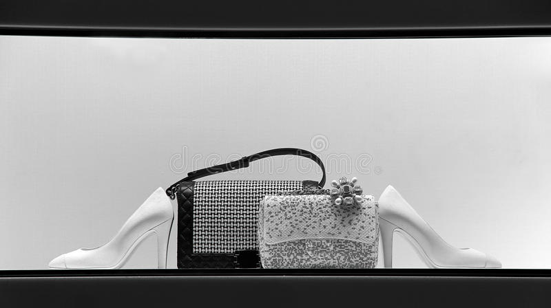 Ladies handbags and shoes royalty free stock photos