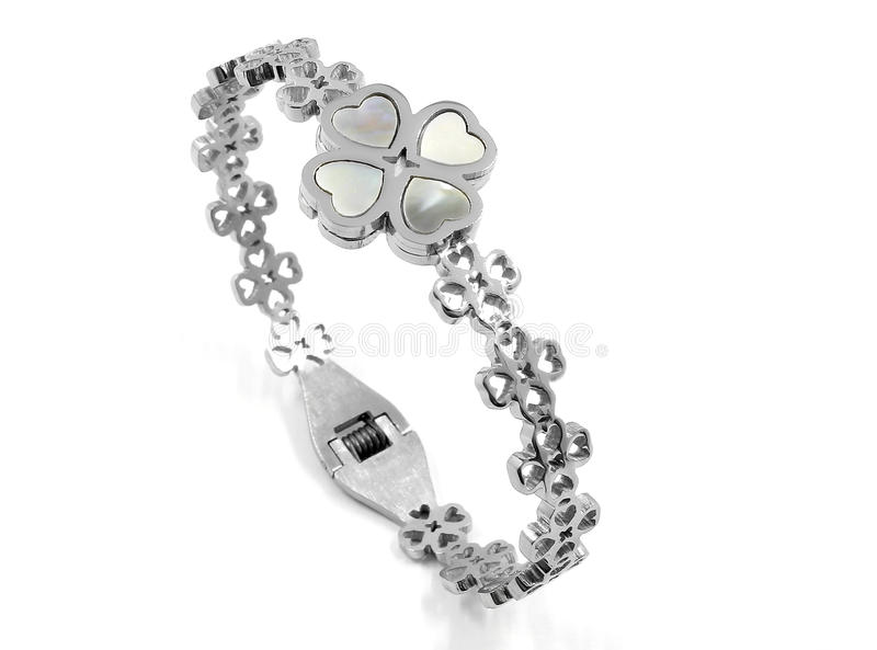 Ladies Jewelry Bracelet - Stainless Steel. Silver - White background royalty free stock photo