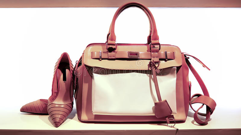 Ladies leather hand bag and shoes stock photos