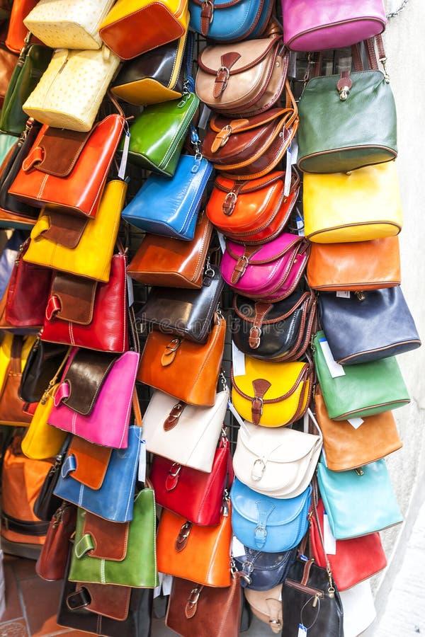 Ladies leather handbags stock image
