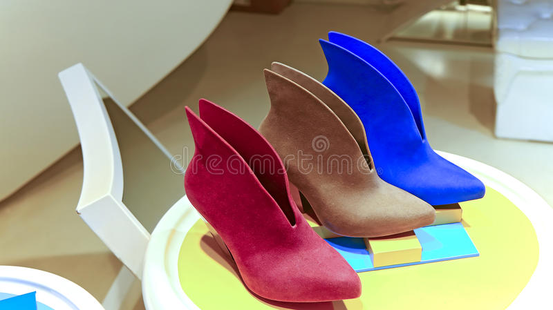 Ladies leather shoes royalty free stock photography