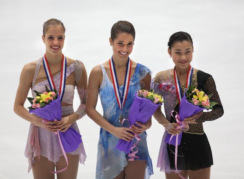Ladies medallists-ISU Grand Prix of Figure Skating stock photo