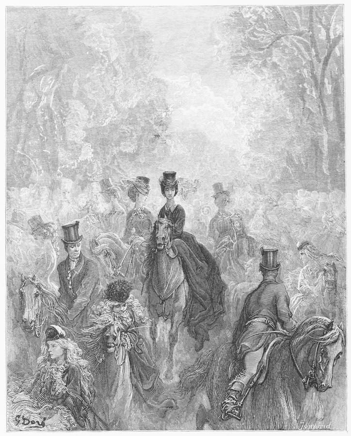The Ladies' Mile. Picture from Gustave Dore's London: a Pilgrimage illustrated book published in 1873, London - UK