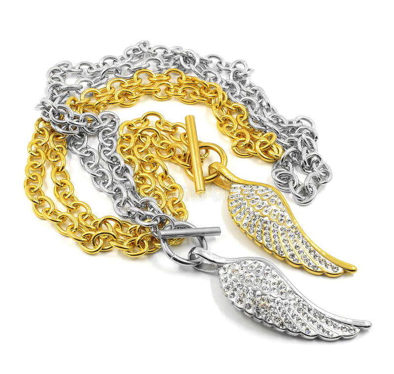 Ladies Necklace - Angel wings - Stainless steel and crystal. White background stock image