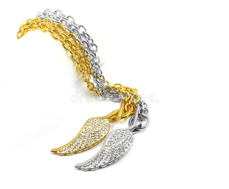 Ladies Necklace - Angel wings - Stainless steel and crystal. White background royalty free stock photos