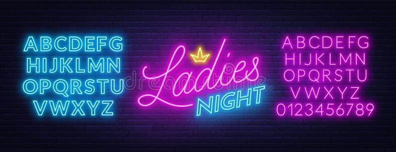 Ladies Night neon lettering on brick wall background. Light alphabet. Template for invitation, poster, etc. Vector illustration stock illustration