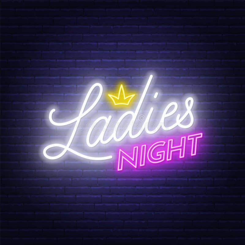 Ladies Night neon lettering on brick wall background. Vector illustration vector illustration