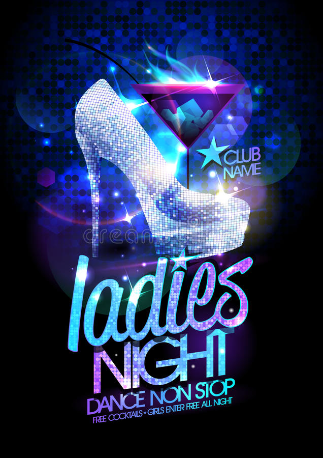 Free Ladies Night Poster Illustration With High Heeled Diamond Crystals Shoes Royalty Free Stock Photos - 58809468
