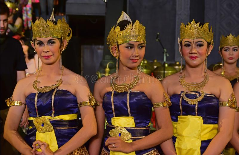 Female Javanese dancers in traditional attire known as Dhodot. The ladies are the performers for the night show based on an epic Hindu history. They are very stock image