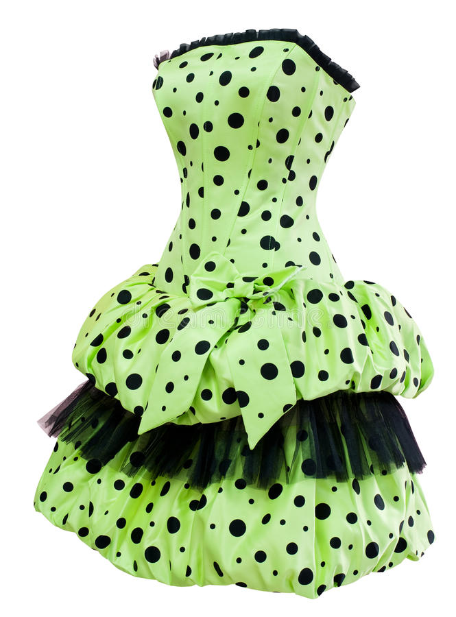 Ladies' polka dot cocktail dress. A ladies' green polka dot cocktail dress with a balloon skirt, clipping path royalty free stock photo