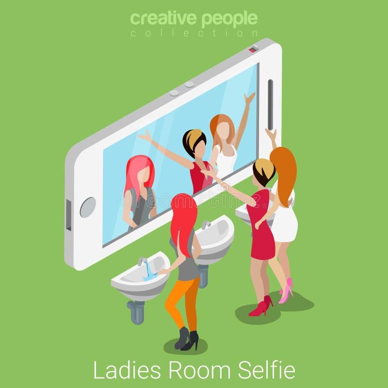 Ladies room selfie shot flat 3d isometric social media vector. Ladies room selfie shot flat 3d isometry isometric lifestyle social media concept web vector vector illustration