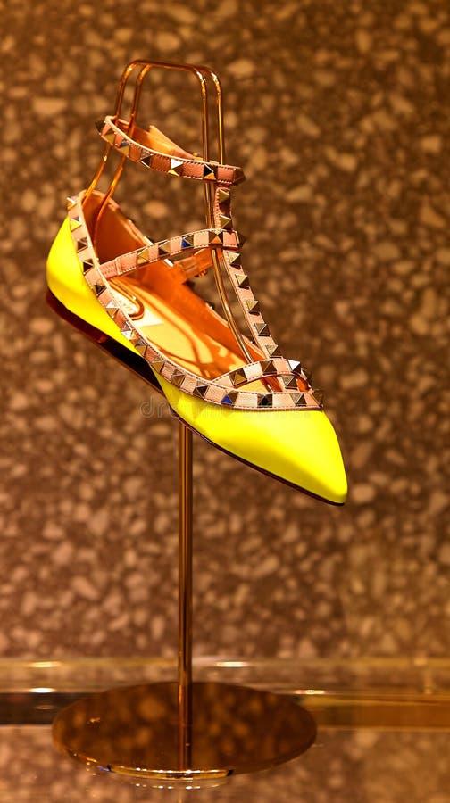 Ladies shoes. Elegant ladies shoes on display stock photos