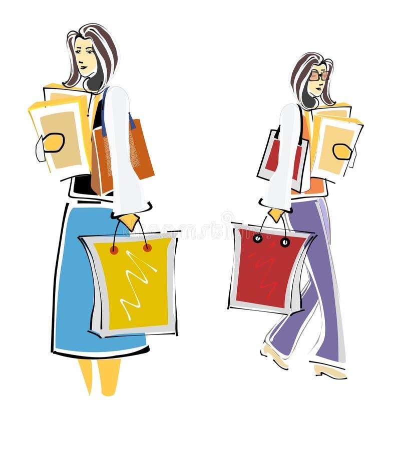 Ladies Shopping spree royalty free stock photos