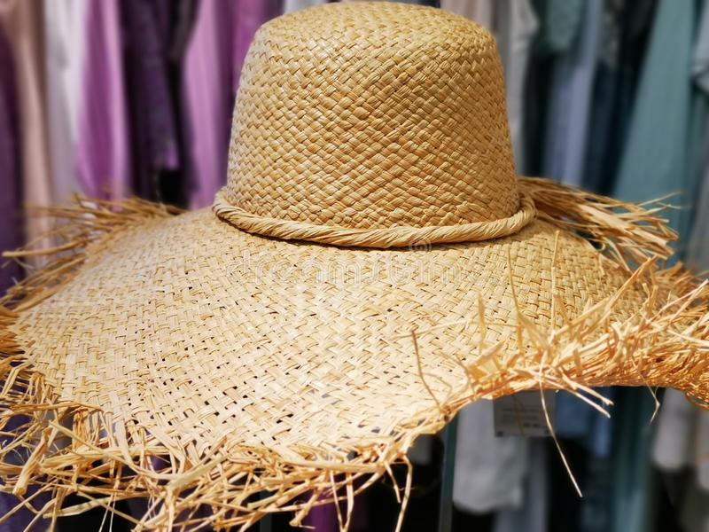Ladies straw hat details - woven curly around royalty free stock image