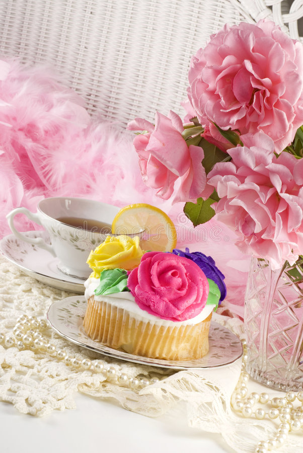 Ladies Tea Party with Cupcake stock photos