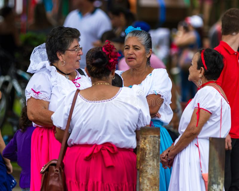 Ladies in the town square. Tilaran, Costa Rica - September 15 : ladies meeting in the town square celebrating Independence Day. September 15 2017, Tilaran Costa royalty free stock photography