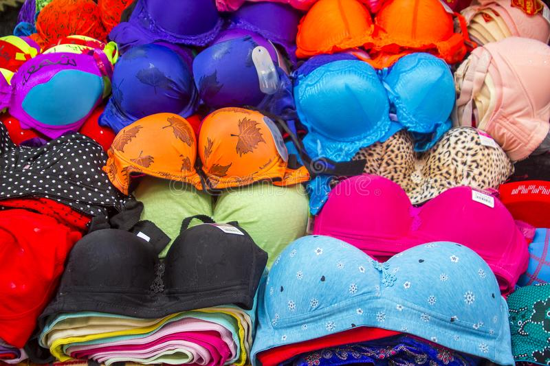 Ladies underwear in a small shop in the Arab Quarter of Jerusalem royalty free stock images