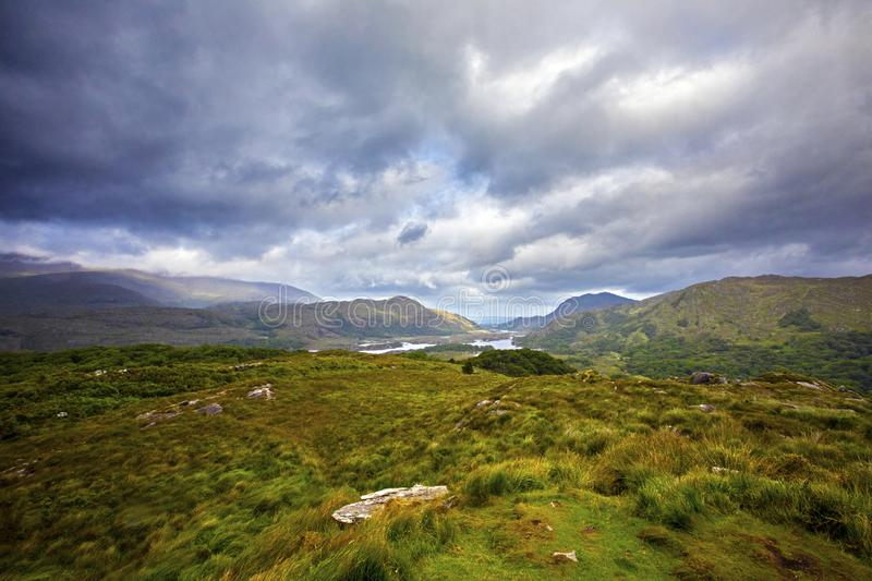 Ladies View in Killarney National Park. The view from Ladies View in the beautiful Killarney National Park in County Kerry, Republic of Ireland stock images
