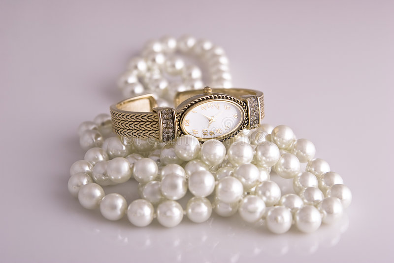 Download Ladies Watch and Pearls stock image. Image of romance - 3367545