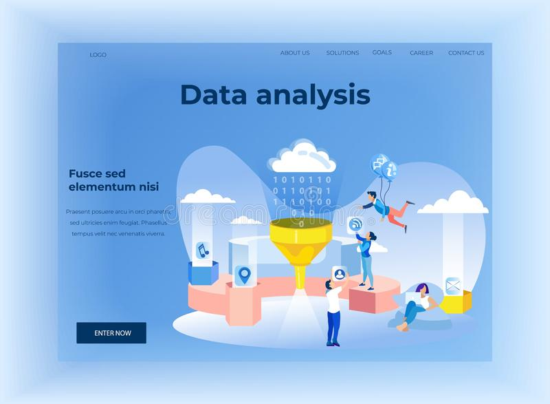 Lading Page with Data Analytics Network Design. Lading Page with Data Analytics Network Flat Cartoon Design. Team Work at Social Statistics Cloud Database stock illustration