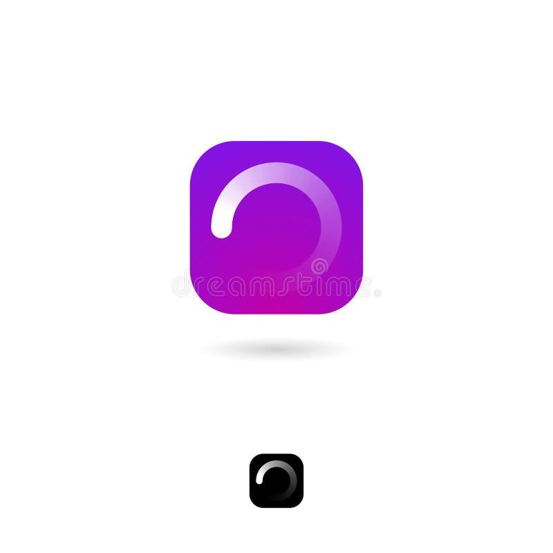 Lading, UI-pictogram Wit cirkelladingsembleem op purpere achtergrond Wachtend, verwachtend pictogram Het pictogram van het Web vector illustratie