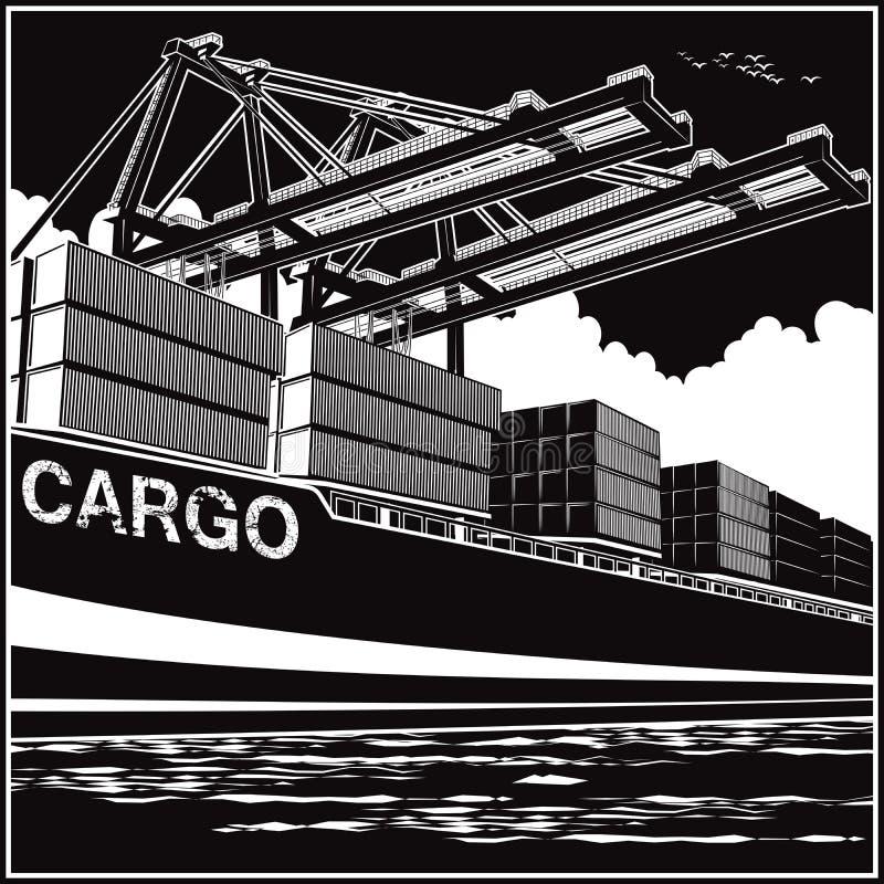 Lading van containers door havenkranen royalty-vrije illustratie
