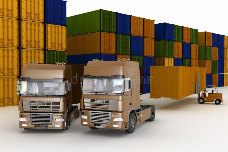 Lading van containers op grote vrachtwagens stock illustratie