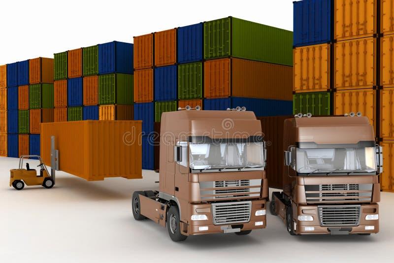 Lading van containers op grote vrachtwagens royalty-vrije illustratie