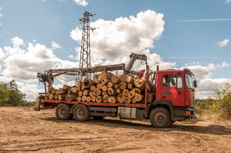 Lading van felled hout in een vrachtwagen met kraan stock fotografie