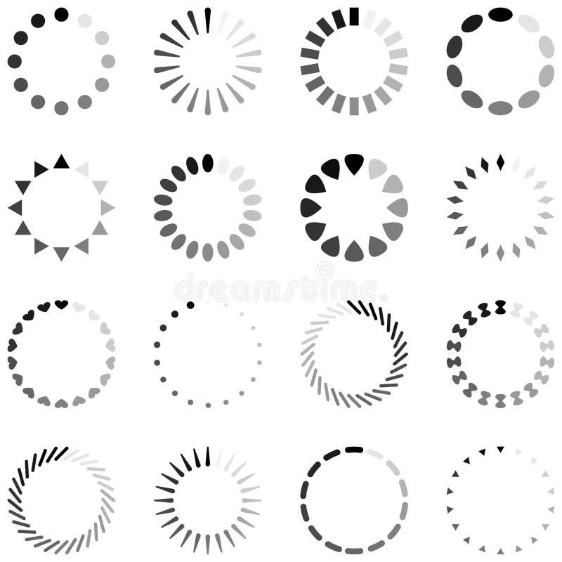 Lading, vooruitgang of als buffer optredende voor spinnende pictogrammen stock illustratie