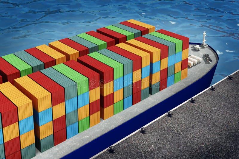 Ladings oranje container op vrachtschip in haven vector illustratie