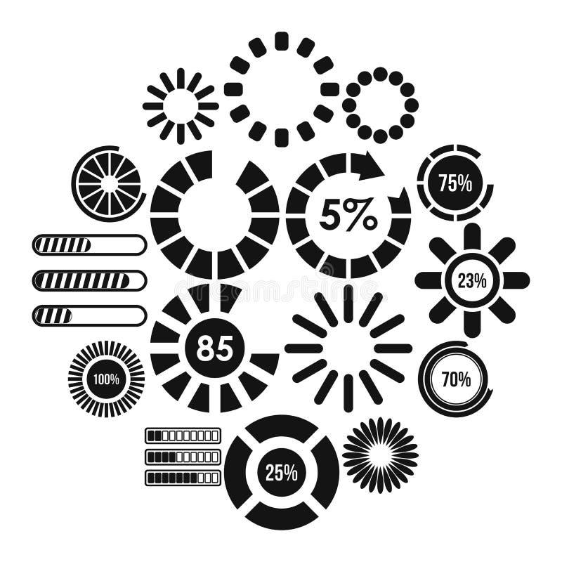 Ladingsbars en preloaders geplaatste pictogrammen vector illustratie