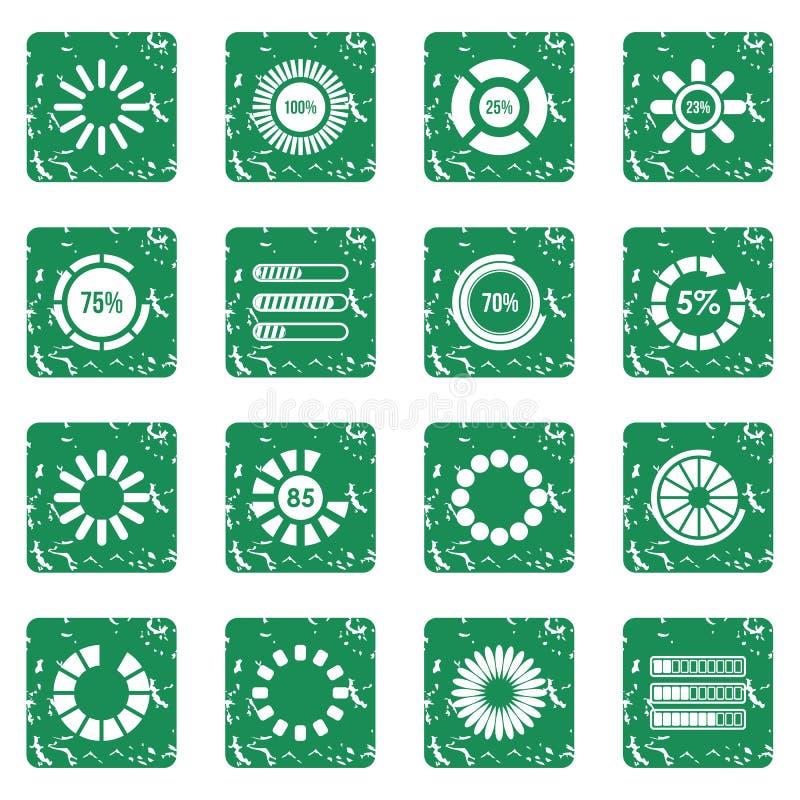 Ladingsbars en preloaders geplaatste pictogrammen grunge stock illustratie