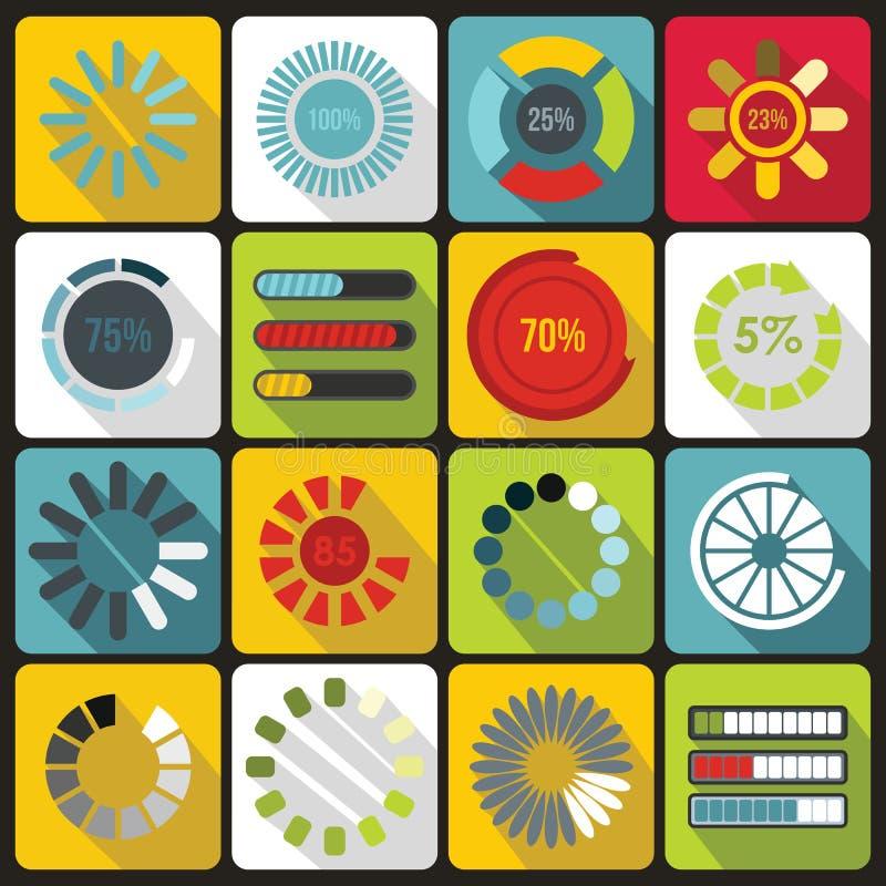 Ladingsbars en preloaders geplaatste pictogrammen, vlakke stijl vector illustratie