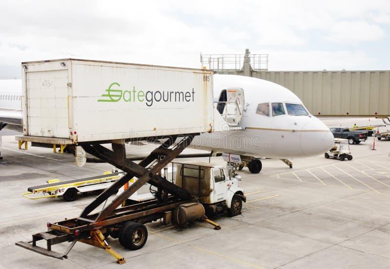 Ladingscatering in vliegtuig stock fotografie