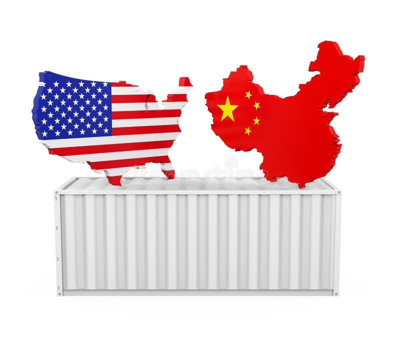 Ladingscontainer met Geïsoleerde de Kaart van Verenigde Staten en van China Het Concept van de handelsoorlog royalty-vrije illustratie