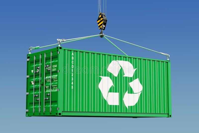 Ladingscontainer met recyclings logotype concept het 3d teruggeven royalty-vrije illustratie