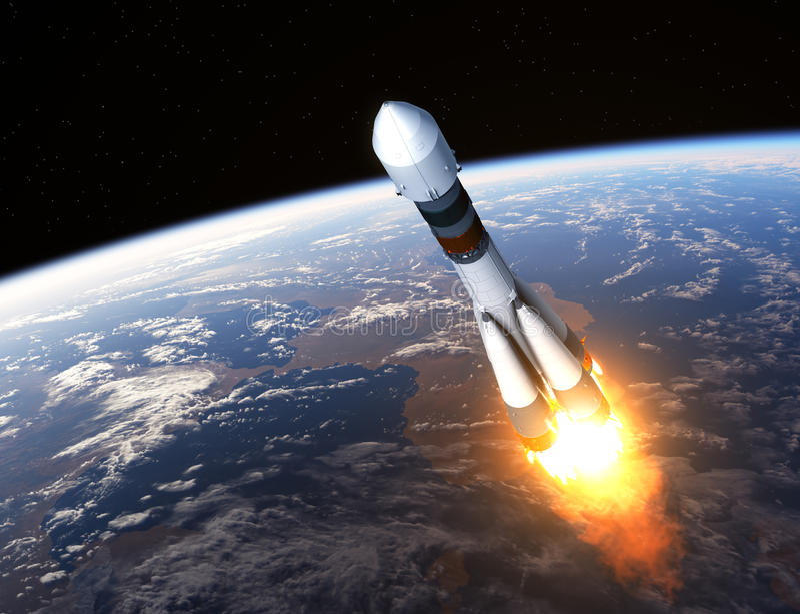 Ladingsdrager Rocket Launch stock illustratie