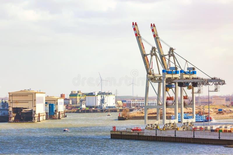 Ladingshaven van Hamburg op de rivier Elbe, de grootste haven in Duitsland Kranen en containers stock fotografie