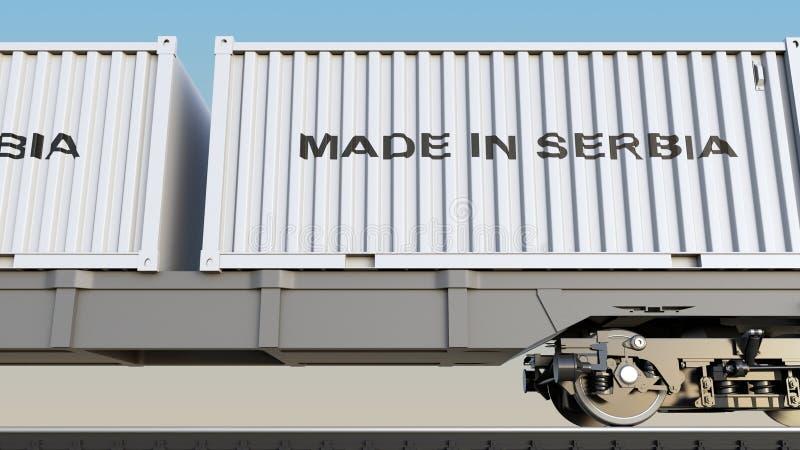 Ladingstrein en containers met GEMAAKT IN de titel van SERVIË Spoorwegvervoer het 3d teruggeven royalty-vrije illustratie