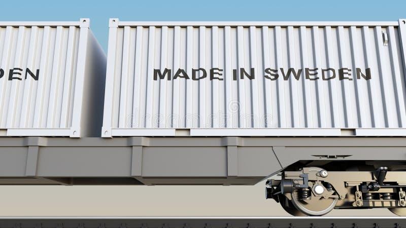 Ladingstrein en containers met GEMAAKT IN de titel van ZWEDEN Spoorwegvervoer het 3d teruggeven stock illustratie