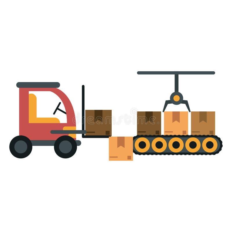 Ladingsvoertuig en pakhuis stock illustratie