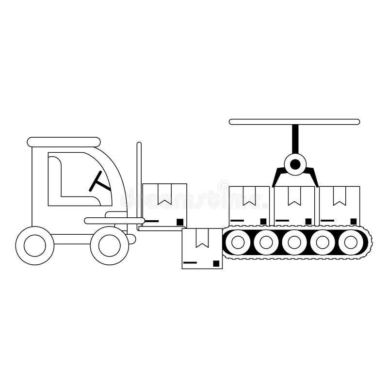 Ladingsvoertuig en pakhuis vector illustratie