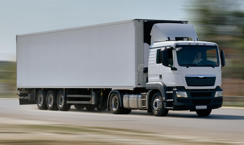Ladingsvrachtwagen stock foto's