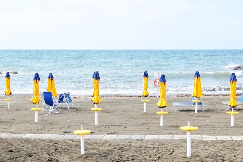 Ladispoli, Italy. Empty beaches in Italy. Beach season comes to an end. Ladispoli, Italy - Circa September 2017. Empty beaches in Italy. Beach season comes to an royalty free stock photo